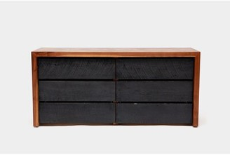 """Artless SQR 6 Drawer Double Dresser Length: 60"""", Color: Solid Walnut and Reclaimed Wood"""