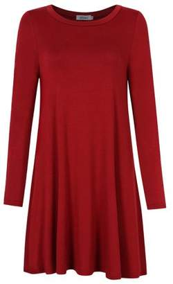 Glowsol Missky Women Round Neck Dress Loose Casual Dress Knee-lenght Dress Wine Red S