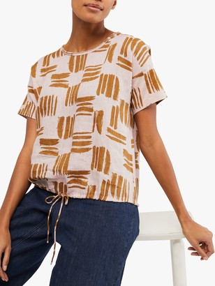 White Stuff Summer Brush Cotton Jersey T-Shirt, Dusty Pink/Camel