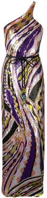 Emilio Pucci Sequin Embroidered Silk Maxi Dress