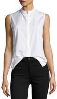 3.1 Phillip Lim Sleeveless Poplin Twist-Back Top, White