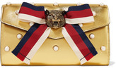 Gucci Broadway Faux Pearl-embellished Metallic Leather Clutch - Gold