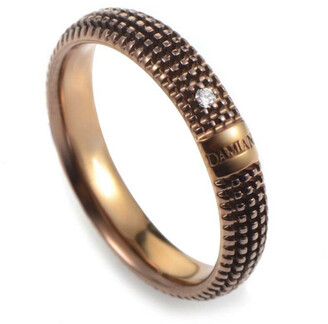 Damiani Certified 18K Rose Gold & Rhodium Diamond Ring