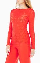 BCBGMAXAZRIA Wylie Long-Sleeve Lace Top