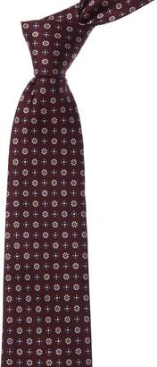 Kiton Burgundy Floral Silk Tie