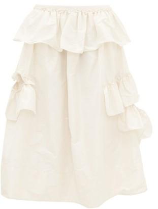 Simone Rocha Asymmetric Ruffle-trimmed Taffeta Midi Skirt - Womens - Cream