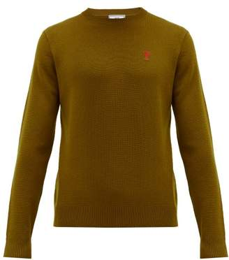 Ami Logo Appliqued Merino Wool Sweater - Mens - Bronze