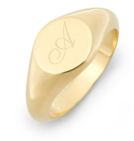 brook & york Claire Petite Initial Signet Gold-Plated Ring
