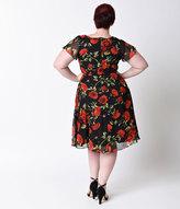 Unique Vintage Plus Size 1940s Style Black & Red Rose Formosa Swing Dress