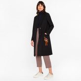 Paul Smith Women's Black 'A Coat To Travel In' Wool Epsom Coat With Monkey Embroidery