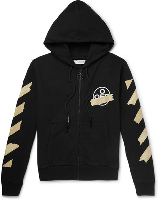 Off-White Off White Printed Loopback Cotton-Jersey Zip-Up Hoodie