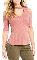 Takara Cold-Shoulder Ribbed Knit Top