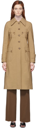 Victoria Beckham Beige Canvas Fitted Over Coat