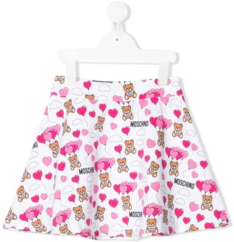 Moschino Kids teddy bear print skater skirt