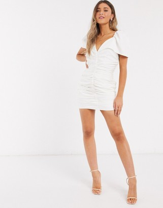 In The Style x Jac Jossa plunge front ruched bodycon dress in white