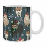 "DENY Designs Christmas Canine Pomeranian"" Mug in Blue (Set of 2)"