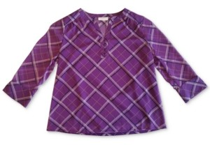 Charter Club Plaid Split-Neck Top, Created for Macy's