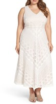 Vince Camuto Plus Size Women's Mitered Lace Midi Dress