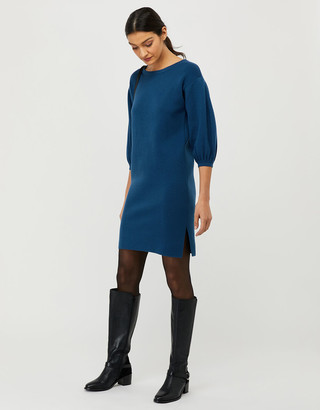 Under Armour Jenna Balloon Sleeve Knitted Dress in Recycled Polyester Teal