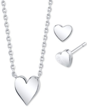 Unwritten 2-Pc. Set Mini Heart Pendant Necklace & Matching Stud Earrings in Fine Silver-Plate, Created for Macy's