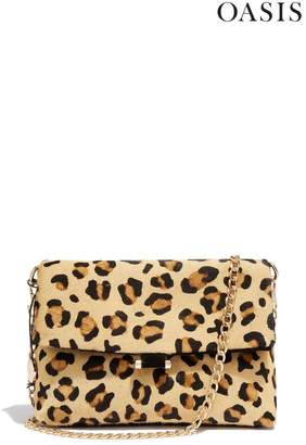 Oasis Womens Animal Suede Leopard Foldover Bag - Animal