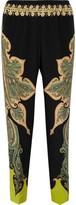 Etro Paisley-print Silk Crepe De Chine Pants - Black