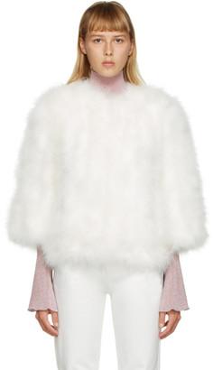 Yves Salomon White Feather Cropped Jacket