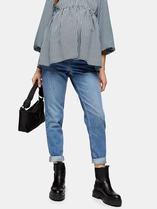 Topshop Maternity Overbump Mom Jeans -Blue