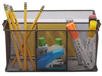 Mind Reader Metal Mesh Basket with Handle, Storage Basket Organizer, Utensil Holder, Forks, Spoons, Knives, Napkins, Perfect for Desk Supplies, Pencils, Pens, Staples, Brown