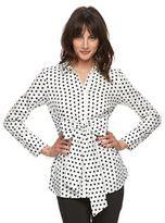 Elle Women's ELLETM Polka-Dot Bow Shirt