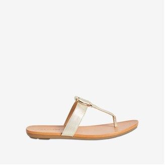 Joe Fresh Women's Thong Strap Sandals, Gold (Size 9)