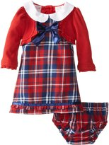 Nannette Baby Girls 2 Piece Plaid Dress Set, Chinese Red, 12 Months