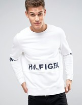 Hilfiger Denim Crew Sweatshirt Oversized Logo Body & Sleeve In White
