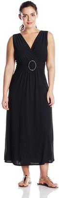 Star Vixen Women's Plus-Size Sleeveles O-Ring Maxidress