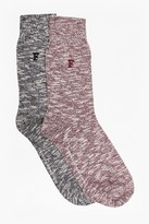 French Connection Winston 2 Pack Twisted Block Socks