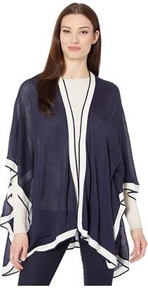 Lauren Ralph Lauren Contrast Trim Ruana (Navy) Women's Clothing