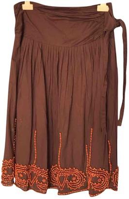 Antik Batik Burgundy Cotton Skirt for Women