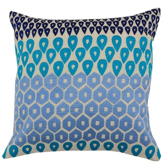 "Entryways Blue Embroidered Teardrop Throw Pillow - 20""x20"""