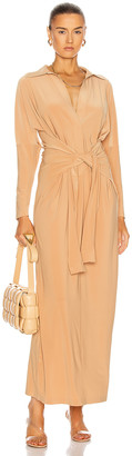 Norma Kamali Tie Front Shirt Dress in Nude | FWRD