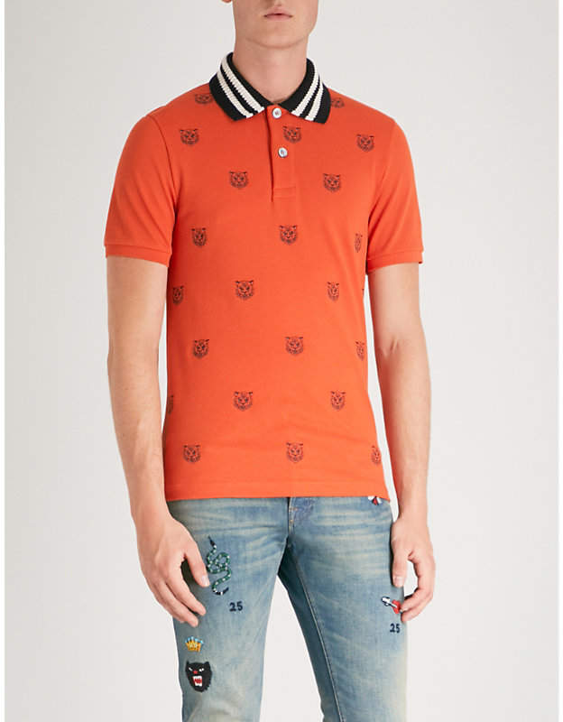 Gucci Tiger-embroidered slim-fit cotton-pique polo shirt