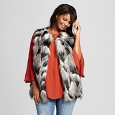 Ava & Viv Women's Plus Size Fur Vest with Knit Back