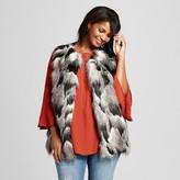 Women's Plus Size Fur Vest with Knit Back - Ava & Viv