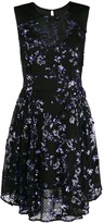 Three floor sequins embellished flared dress