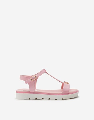Dolce & Gabbana T-Strap Sandals In Patent Leather With Rhinestones