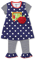 Bonnie Jean Bonnie Baby Baby Girls 12-24 Months Mixed-Media Dress & Striped Leggings Set