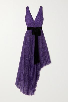 Alice + Olivia Aiden Asymmetric Velvet-trimmed Printed Georgette Dress - Purple