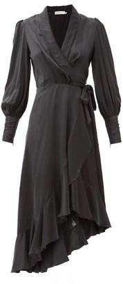 Zimmermann Balloon-sleeve Silk Wrap Dress - Black