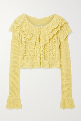 LoveShackFancy Seraphine Cropped Ruffled Crocheted Cotton Cardigan - Yellow