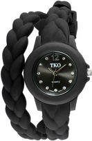JCPenney TKO ORLOGI Womens Crystal-Accent Braided Black Silicone Strap Wrap Watch