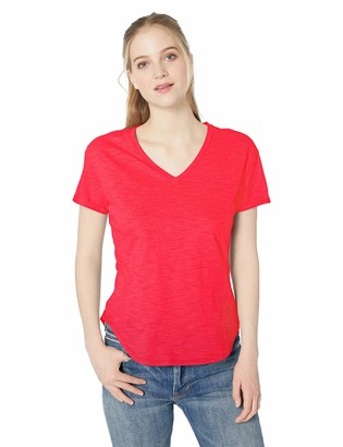 Daily Ritual Women's Lived-in Cotton Roll-Sleeve V-Neck T-Shirt